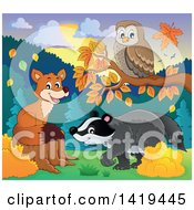 Clipart Of A Cute Fox Owl And Badger In An Autumn Landscape Royalty Free Vector Illustration