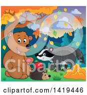 Clipart Of A Cute Bear Hedgehog And Badger In An Autumn Landscape Royalty Free Vector Illustration by visekart