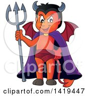 Clipart Of A Grinning Little Devil Holding A Trident Royalty Free Vector Illustration