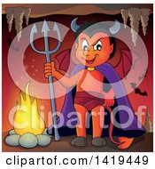 Clipart Of A Grinning Little Devil Holding A Trident In A Cave Royalty Free Vector Illustration by visekart