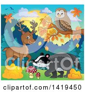 Clipart Of A Cute Deer Owl And Badger In An Autumn Landscape Royalty Free Vector Illustration by visekart