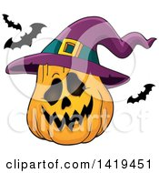 Clipart Of A Halloween Jackolantern Pumpkin With A Witch Hat And Flying Bats Royalty Free Vector Illustration