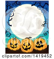 Clipart Of A Full Moon Framed With Bare Tree Branches Vampire Bats And Halloween Jackolantern Pumpkins On Blue Royalty Free Vector Illustration by visekart