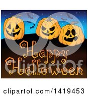 Clipart Of A Happy Halloween Greeting Under Vampire Bats A Starry Sky And Jackolantern Pumpkins Royalty Free Vector Illustration