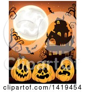Clipart Of A Full Moon Over A Haunted House With Bats Bare Tree Branches And Halloween Jackolantern Pumpkins Over Orange Royalty Free Vector Illustration by visekart
