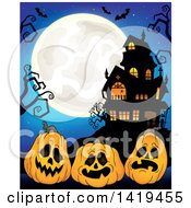 Clipart Of A Full Moon Over A Haunted House With Bats Bare Tree Branches And Halloween Jackolantern Pumpkins Over Blue Royalty Free Vector Illustration by visekart