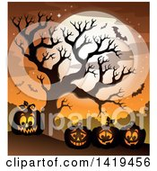 Clipart Of A Full Moon Bare Tree Vampire Bats And Halloween Jackolantern Pumpkins Against An Orange Sky Royalty Free Vector Illustration by visekart