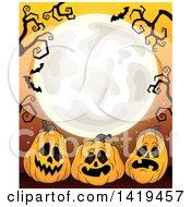 Clipart Of A Full Moon Framed With Bare Tree Branches Vampire Bats And Halloween Jackolantern Pumpkins On Orange Royalty Free Vector Illustration by visekart