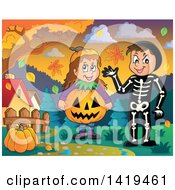 Clipart Of A Boy In A Skeleton Costume And Girl In A Halloween Jackolantern Pumpkin Costume In A Park Royalty Free Vector Illustration by visekart