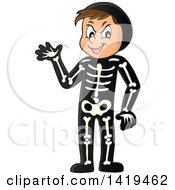Clipart Of A Caucasian Boy In A Skeleton Costume Royalty Free Vector Illustration by visekart