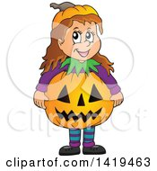 Clipart Of A Caucasian Girl In A Halloween Pumpkin Costume Royalty Free Vector Illustration