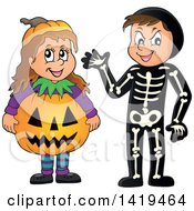 Clipart Of A Boy In A Skeleton Costume And Girl In A Halloween Jackolantern Pumpkin Costume Royalty Free Vector Illustration