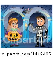 Clipart Of A Boy In A Skeleton Costume And Girl In A Halloween Jackolantern Pumpkin Costume In A Haunted Hallway Royalty Free Vector Illustration by visekart