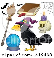 Clipart Of A Halloween Crow Bird Wearing A Witch Hat And Accessories Royalty Free Vector Illustration by visekart