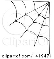 Clipart Of A Black Spider Web Corner Design Element Royalty Free Vector Illustration