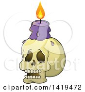 Human Skull With A Lit Candle