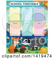 Clipart Of A Cute Fox Hedgehog And Badger In An Autumn Landscape Under A School Timetable Royalty Free Vector Illustration by visekart
