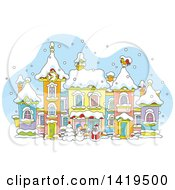 Clipart Of A Cartoon Snow Man And Santa Claus In A Snowy Winter Village Royalty Free Vector Illustration