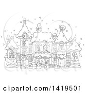 Clipart Of A Black And White Lineart Snowman And Santa Claus In A Snowy Winter Village Royalty Free Vector Illustration