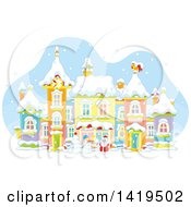 Clipart Of A Snowman And Santa Claus In A Snowy Winter Village Royalty Free Vector Illustration
