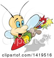 Clipart Of A Cartoon Butterfly Riding A Rocket Royalty Free Vector Illustration
