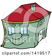 Cartoon Smiling Happy Green Home