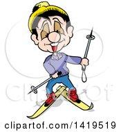 Cartoon Happy Man Skiing