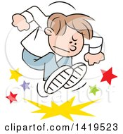 Clipart Of A Cartoon Angry Brunette Caucasian Boy Stomping And Throwing A Tantrum Royalty Free Vector Illustration