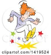 Clipart Of A Cartoon Angry Red Haired Caucasian Woman Stomping And Throwing A Tantrum Royalty Free Vector Illustration