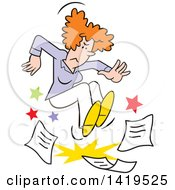 Clipart Of A Cartoon Angry Red Haired Caucasian Woman Stomping On Paper Work And Throwing A Tantrum Royalty Free Vector Illustration by Johnny Sajem