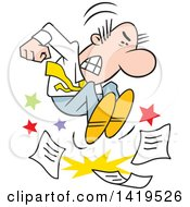 Clipart Of A Cartoon Angry Caucasian Business Man Stomping On Paper Work And Throwing A Tantrum Royalty Free Vector Illustration