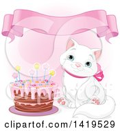 Clipart Of A Cute Blue Eyed White Kitty Cat Wearing A Pink Bow And Sitting By A Birthday Cake Over Pink With A Banner Royalty Free Vector Illustration