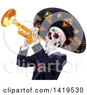 Clipart Of A Dia De Muertos Day Of The Dead Skeleton Playing A Trumpet Royalty Free Vector Illustration by Pushkin