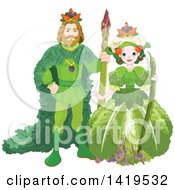 Clipart Of A Vegetable King Standing With An Asparagus Staff And Queen Holding A Bean Pod Royalty Free Vector Illustration by Pushkin