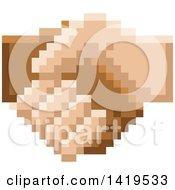 Poster, Art Print Of Retro 8 Bit Pixel Art Styled Hands Shaking