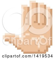 Clipart Of A Retro 8 Bit Pixel Art Styled Hand Gesturing Stop Royalty Free Vector Illustration
