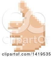 Clipart Of A Retro 8 Bit Pixel Art Styled Hand Giving A Thumb Up Royalty Free Vector Illustration