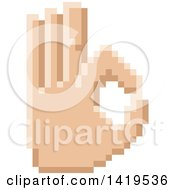 Clipart Of A Retro 8 Bit Pixel Art Styled Hand Gesturing Okay Royalty Free Vector Illustration