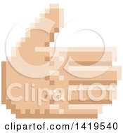 Clipart Of A Retro 8 Bit Pixel Art Styled Hand Reaching Out To Shake Royalty Free Vector Illustration