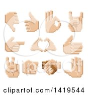 Clipart Of Retro 8 Bit Pixel Art Styled Hands Royalty Free Vector Illustration