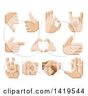 Poster, Art Print Of Retro 8 Bit Pixel Art Styled Hands
