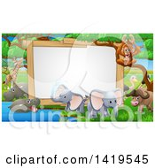 Clipart Of A Blank Sign At A Watering Hole Surrounded By African Safari Animals Royalty Free Vector Illustration