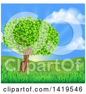 Clipart Of A Lush Tree In A Beautiful Hilly Country Landscape At Sunrise Royalty Free Vector Illustration
