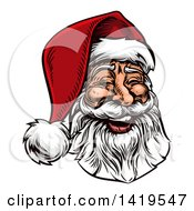 Clipart Of A Woodcut Or Engraved Vintage Styled Jolly Laughing Christmas Santa Claus Face Royalty Free Vector Illustration