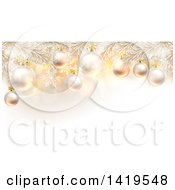 Clipart Of 3d Flocked Christmas Tree Branches With Baubles Over Snowflakes And Flares Royalty Free Vector Illustration by AtStockIllustration