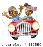 Clipart Of A Happy Black Girl Driving A Boy In A Red Convertible Car Royalty Free Vector Illustration by AtStockIllustration