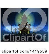 Clipart Of A 3d Haunted Castle With A Zombie Against A Full Moon Royalty Free Illustration