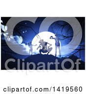 Clipart Of A Group Of 3d Demons Against A Full Moon Royalty Free Illustration