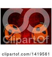 Clipart Of 3d Halloween Jackolantern Pumpkins On Red Scratched Background Royalty Free Illustration