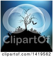 Clipart Of A Silhouetted Hill Top Cemetery With A Bare Tree And Vampire Bat Against A Full Moon Royalty Free Vector Illustration